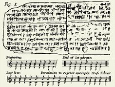 Here's the sheet music for the oldest song in the world: The song was discovered in the ancient Syrian city of Ugarit in the early Fifties, and then deciphered by Prof. Anne Draffkorn K. The tablets containing the notation were about 3,400 years old, and contained cuneiform signs in the hurrian language that provided musical notation of a complete cult hymn. It's thought to be the oldest preserved song with notation in the world, and predates the next earliest example of harmony by 1,400…