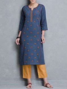 Blue Thread Embroidered Malkha Khadi Kurta