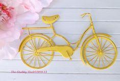 Bicycle Wall Art / Yellow Wall Decor / Metal by Theshabbyshak, $32.00