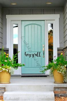 Front Door Paint Colors - Want a quick makeover? Paint your front door a different color. Here a pretty front door color ideas to improve your home's curb appeal and add more style! Front Door Paint Colors, Painted Front Doors, Exterior Paint Colors, Exterior House Colors, Exterior Doors, Paint Colours, Exterior Design, Blue Front Doors, Gray Exterior