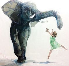 """Dancing With An Elephant By _ Also check out our new art featuring page Illustration Photo, Elephant Illustration, World Elephant Day, Elephant Art, Oil Painters, Sculpture, Artist Painting, Love Art, Art Day"