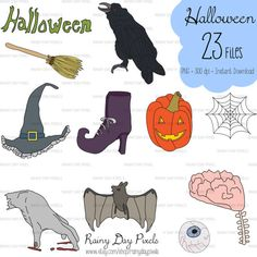 Halloween Hand Drawn Clipart Color by RainyDayPixels on Etsy