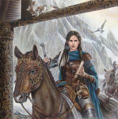 f Ranger Royal Constable Med Armor Cloak Sword Scroll Horseback mountain Keep Story Songs of Beleriand Etain by Mia Steingräber armoredwomen twin med New Fantasy, Fantasy Armor, Medieval Fantasy, Fantasy World, Dnd Characters, Fantasy Characters, Female Characters, Tolkien, Character Portraits