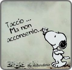 taccio ma non acconsento Snoopy Love, Charlie Brown And Snoopy, Snoopy And Woodstock, Funny Video Memes, Funny Quotes, Italian Quotes, Sarcasm Humor, Minions Quotes, Peanuts Snoopy