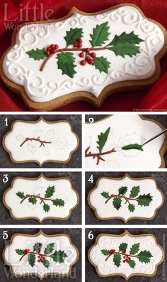 Christmas cookies: gingerbread cut-outs with holly sprig design in royal icing ~ looks like a lot of work but wow @ results! recipes & decorating tutorial | from Little Wonderland via Google Translate (Christmas Bake Royal Icing)