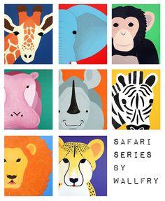 Art for children jungle baby nursery. Safari nursery art. Art for kids wall art. Zoo animal nursery decor, kids decor. Any 5 8x10 prints