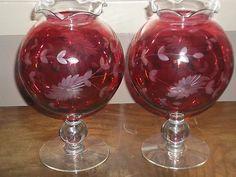 VINTAGE CRANBERRY FLORAL ETCHED PEDESTAL GLASS VASE SET OF 2 BEAUTIFUL SET! LOOK