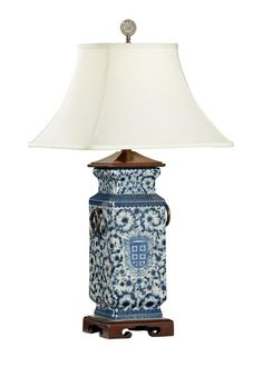 Blue And White Oval Porcelain Table Lamp N1982 Lamps