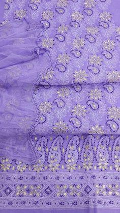 LucknowI Chikan Suit Length 3 Piece Purple Cotton $77.79