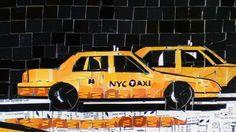 Ilustración perteneciente a una serie de collages de Nueva York hechos con boletos del Metro por Nina Boesch