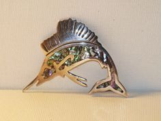 Vintage Bernice Goodspeed Sterling Silver and Abalone Fish