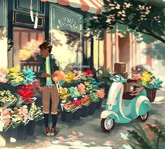 Short illustrations about a flower boy and paperboy.  Almir Khaleel & KyuHo Yoon     © 2016 Nadia Kim                                     ...