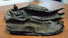 Roman shoe hoard found in Northumberland. Two of the 421 Roman shoes found at Vindolanda.