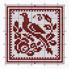 bird chart cross-stitch or filet crochet Cross Stitch Bird, Cross Stitch Samplers, Cross Stitch Animals, Cross Stitch Charts, Cross Stitching, Cross Stitch Embroidery, Embroidery Patterns, Hand Embroidery, Filet Crochet Charts
