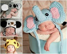 Animal Crochet Hats - our post is filled with FREE Patterns