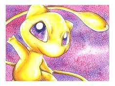 Pokemon Art, Mew: Golden Mew, Modern Watercolor Art Print, Limited edition Giclee. $26.00, via Etsy.