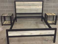 Modern Industrial Powder Coated High Back Bed Frame w/ by JevWorks Welded Furniture, Metal Patio Furniture, White Painted Furniture, Steel Furniture, Industrial Furniture, Pallet Furniture, Cool Furniture, Furniture Design, Plywood Furniture