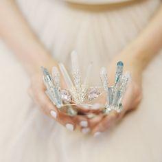 Catelyn quartz crystal crown, bridal tiara, statement headpiece for a wedding, bride, game of thrones inspired bridal crown/krone