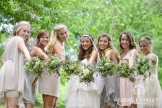 We love this bohemian take on the mismatched bridesmaid dress trend!
