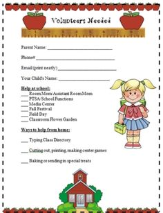 {FREE} Parent Volunteers are very important to the classroom teacher. Download and print this form to send home at the beginning of the year either at you...