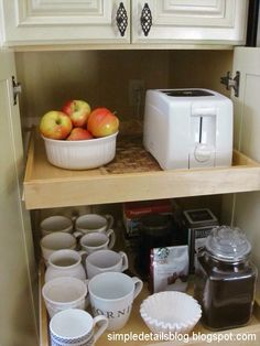 outlet in the back of pantry shelves for appliances (Simple Details blog)