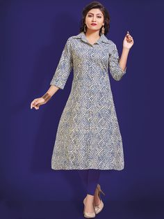 Unique off white and blue casual wear cotton printed kurti. Having fabric cotton. The beautiful print work on the attire adds a sign of beauty statement to your look. #mydesiwear #onlineshop #kurtis #indianfashion #festivewear #ethnicwear #fashion #womenstyle #cotton #womenfashion #partywear #casualwear #weddingfashion #weddingseason #longkurtis #indianwedding #weddingbeauty #weddingfestival #WeddingTrends #stylewedding