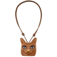 Loewe Cat Face Leather Necklace (£600) ❤ liked on Polyvore featuring jewelry, necklaces, accessories, brown, leather necklace, loewe, cat jewelry, brown jewelry and leather jewelry
