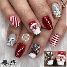 Xmas Nails, Holiday Nails, Christmas Nails, Pretty Toes, Winter Nails, Finger, Nail Designs, Nail Art, How To Make
