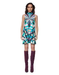 Mara Hoffman Prism Turtleneck Swing Dress in Teal | SWANK