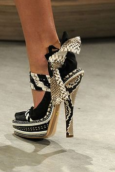 Prada-black white silver and gold snakeskin print heels #fashion #couture #metallic #shoes
