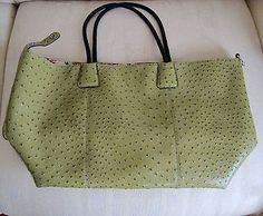 Big Buddha X-Large Faux Ostrich Leather Tote Bag  Handbag Olive Green Excellent