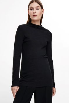 COS image 2 of Raised-neck cotton top in Black