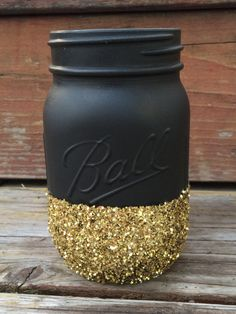 Black & Gold Glitter Mason Jar - Perfect for Makeup Brushes, Toothbrush, Pens, Wedding Centerpiece, Baby Shower, Bridal Shower, Elegant Jars