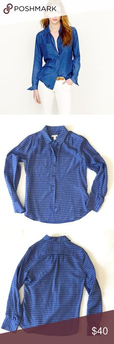 J.Crew Blue Silk Pebble Dot Blythe Shirt J.Crew Blythe Blouse in blue silk pebble dot print. 100% silk, gorgeous texture and universally flattering color. Pockets on chest, three button sleeve closure. Size 2, fits large. Excellent used condition, no signs of wear. Bundle 2 or more items to save 20%! J. Crew Tops Button Down Shirts