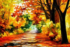 Path Of Sun Beams PALETTE KNIFE Landscape par AfremovArtStudio