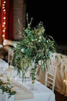 Scandi Chic Inspired Wedding with an Abundance of Foliage Tall Gold Vases, Tall White Vase, White Vases, Rose Garland, Light Garland, Gold Centerpieces, Ranch Decor, Gypsophila, Timeless Wedding