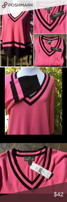 "Ralph Lauren Active Pink & Black Sweater !  L-RL Lauren Active Ralph Lauren ! Beautiful Pink trimmed in black ! Gorgeous ! 100% cotton ! V neckline ! About 26"" in length ! Machine wash cold gentle lay flat to dry ! Gorgeous pink !  Lauren Ralph Lauren Sweaters V-Necks"