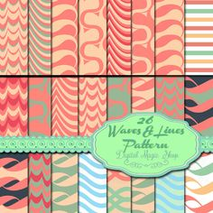 26 Waves Pattern Digital Papers Pack  Pink by DigitalMagicShop, $3.00
