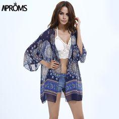 Women's Plus Size Floral Print Open Front Tie Kimono Blouses Off ...