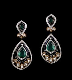 Emerald and diamond earrings from Gehna