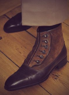Made-to-order Aubercy button boots.