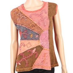 Tank top with patch work and embroidery design. Can be used for t-shirt, cardigan or tunic.