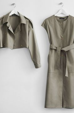 Two-piece Khaki Trench Coat - Somemoment - Womens Clothing