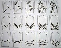 Роспись иглой на ногтях №11