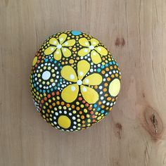 ROCK ART- Hand Painted Rock - yellow shades of orange collection #51 - $15 - FREE US Shipping!