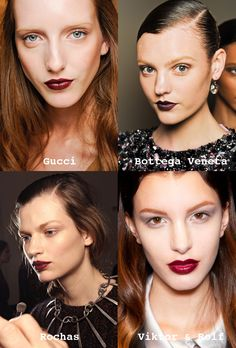 Darker shades of red, such as cherry and burgundy, dominated the runway during fall 2012 shows. Keep the goth chic vibe on minimum with subtle eyes and fresh skin.