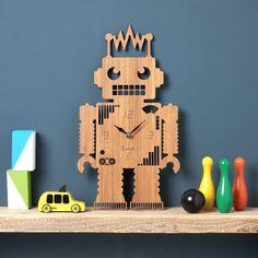 Robot Wall Clock Robot Modern Clock Childrens Clock by OwlandOtter