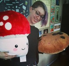Hmmm, what to eat for dinner? Decisions, decisions... #squishable #plush #mushroom