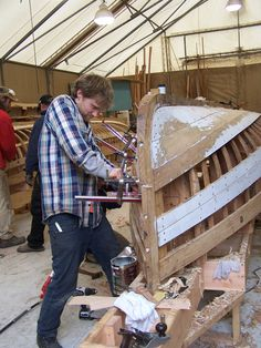 Port Hadlock WA - Boat School - Traditional Large Craft - Powell Expedition Whitehalls being built - planking continues