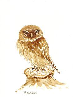 Sóweczka - watercolour painted with coffee - Maria Roszkowska Coffee Drawing, Coffee Painting, Coffee Art, Watercolor Design, Watercolour Painting, Tea Art, Vintage Inspired, Art Drawings, Bird